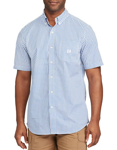 Chaps Big and Tall Short-Sleeve Gingham Sport Shirt-BLUE-2X Tall