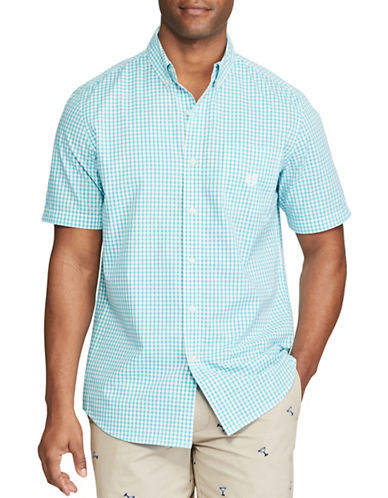 Chaps Big and Tall Short-Sleeve Gingham Sport Shirt-MEDIUM BLUE-3X Tall