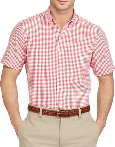 Chaps Short-Sleeve Gingham Sport Shirt-RED-3X Big