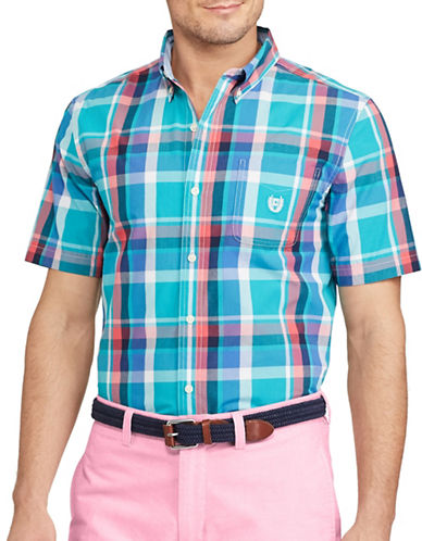 Chaps Short-Sleeve Plaid Sport Shirt-BLUE-4X Big