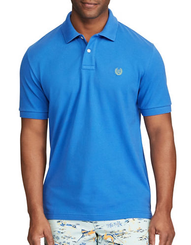 Chaps Stretch Mesh Polo Shirt-BLUE-X-Large