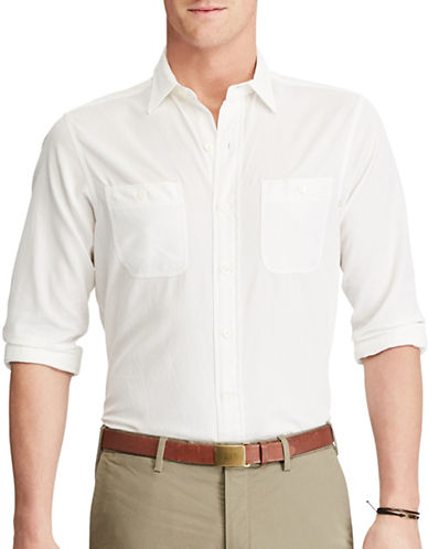 Polo Ralph Lauren Standard-Fit Cotton and Silk Work Shirt-WHITE-Large