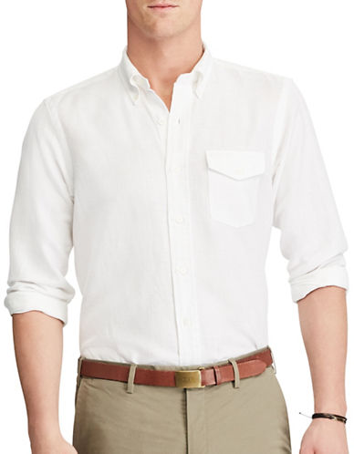 Polo Ralph Lauren Standard-Fit Linen and Cotton Shirt-WHITE-Medium