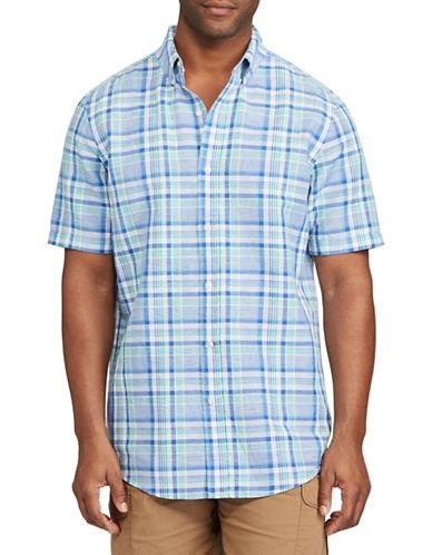 Chaps Custom Fit Plaid Linen-Cotton Shirt-BLUE-X-Large