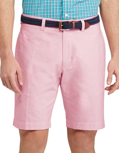 Chaps Big and Tall Flat-Front Cotton Oxford Shorts-PINK-48 Big