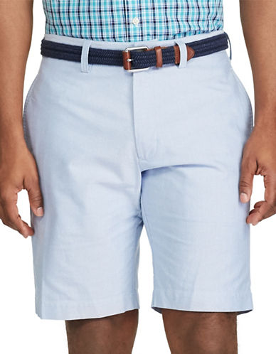 Chaps Big and Tall Flat-Front Cotton Oxford Shorts-BLUE-48 Big