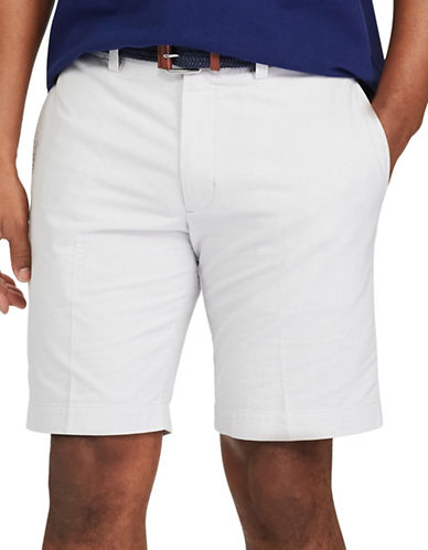 Chaps Big and Tall Flat-Front Cotton Oxford Shorts-GREY-48 Big
