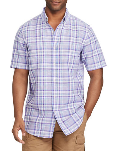 Chaps Big and Tall Plaid Linen-Cotton Sport Shirt-PURPLE-2X Big