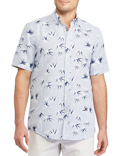 Chaps Big and Tall Printed Linen-Cotton Shirt-BLUE-Large Tall