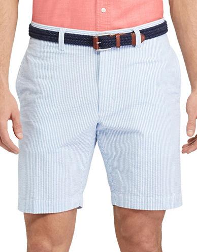 Chaps Flat-Front Cotton Seersucker Shorts-LIGHT BLUE-40