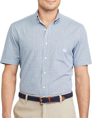 Chaps Big and Tall Short-Sleeve Checked Sport Shirt-BLUE-3X Tall