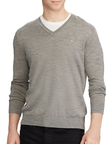 Polo Ralph Lauren Washable Wool Sweater-GREY-X-Large