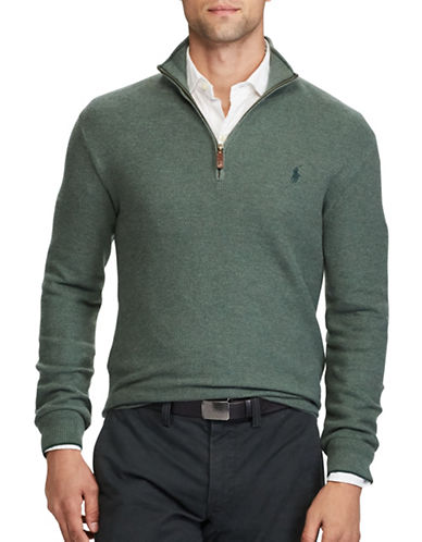 Polo Ralph Lauren Cotton Half-Zip Sweater-GREEN-Medium