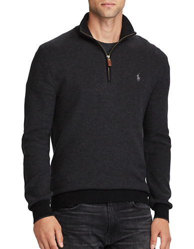 Polo Ralph Lauren Long Sleeve Cotton Pullover-CHARCOAL HEATHER-Small