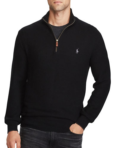Polo Ralph Lauren Cotton Half-Zip Sweater-BLACK-X-Large