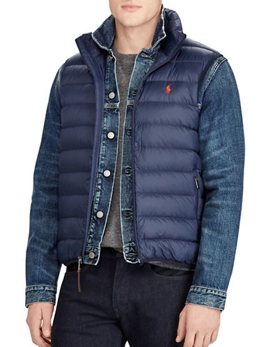 Polo Ralph Lauren Big and Tall Packable Down Vest-BLUE-1X Tall