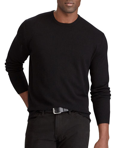 Polo Ralph Lauren Big and Tall Washable Cashmere Sweater-BLACK-1X Tall