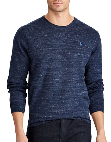 Polo Ralph Lauren Big and Tall Rustic Cotton Sweater-BLUE-2X Tall