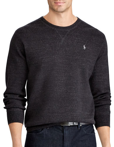 Polo Ralph Lauren Big and Tall Rustic Cotton Sweater-BLACK-1X Big