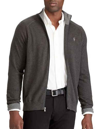 Polo Ralph Lauren Big and Tall Full-Zip Sweater-GREY-1X Big