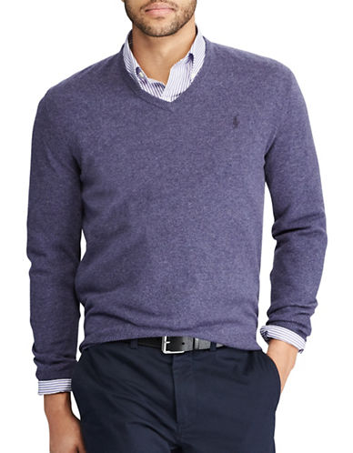 Polo Ralph Lauren Big and Tall Merino Wool V-Neck Sweater-PURPLE-2X Tall