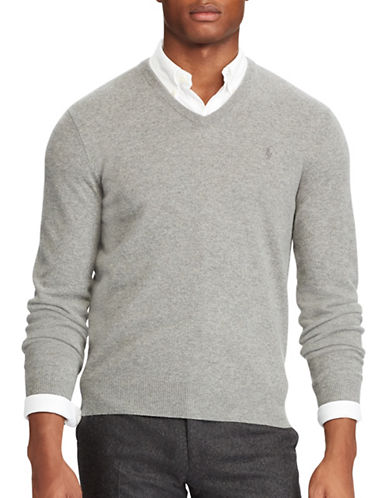 Polo Ralph Lauren Merino Wool V-Neck Sweater-GREY-1X Big