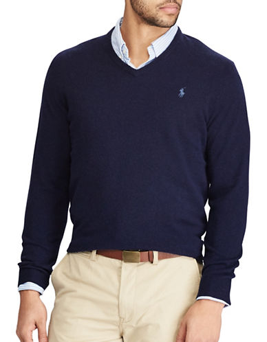 Polo Ralph Lauren Merino Wool V-Neck Sweater-NAVY-3X Tall