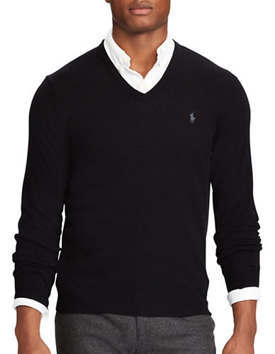 Polo Ralph Lauren Merino Wool V-Neck Sweater-BLACK-5X Tall