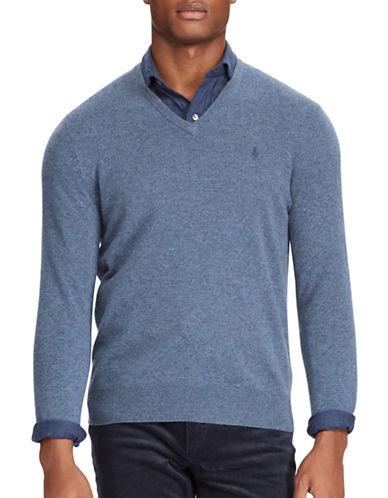 Polo Ralph Lauren Merino Wool V-Neck Sweater-BLUE-Large Tall