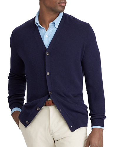 Polo Ralph Lauren Suede-Trim Merino Cardigan-DARK BLUE-1X Tall