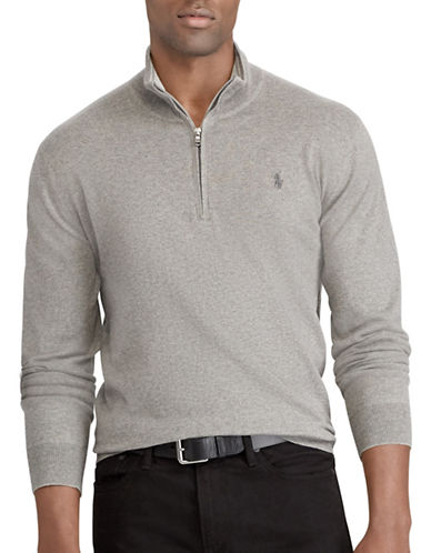 Polo Ralph Lauren Big and Tall Half-Zip Sweater-GREY-4X Big