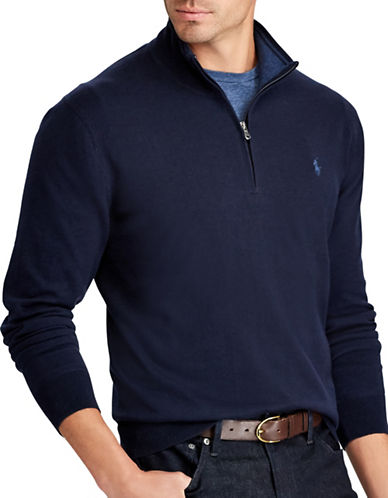 Polo Ralph Lauren Big and Tall Half-Zip Sweater-NAVY-Large Tall