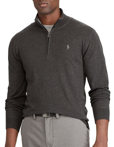 Polo Ralph Lauren Big and Tall Half-Zip Sweater-DARK GREY-3X Tall