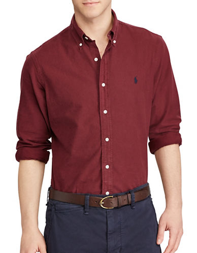 Polo Ralph Lauren Standard-Fit Oxford Cotton Casual Button-Down Shirt-BURGUNDY-X-Large