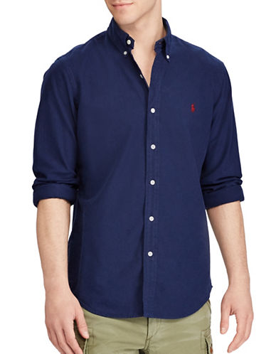 Polo Ralph Lauren Standard-Fit Oxford Cotton Casual Button-Down Shirt-BLUE-X-Large