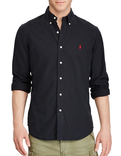 Polo Ralph Lauren Standard-Fit Oxford Cotton Casual Button-Down Shirt-BLACK-Small