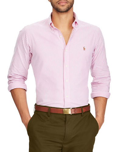 Polo Ralph Lauren Standard Fit Striped Oxford Shirt-RED-X-Large
