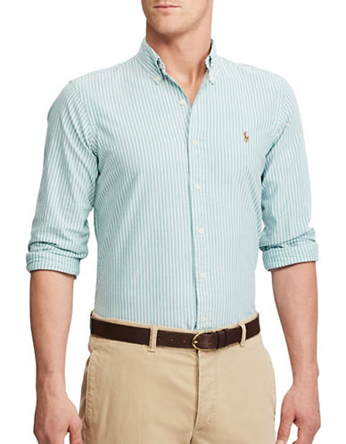 Polo Ralph Lauren Standard Fit Striped Oxford Shirt-GREEN-X-Large
