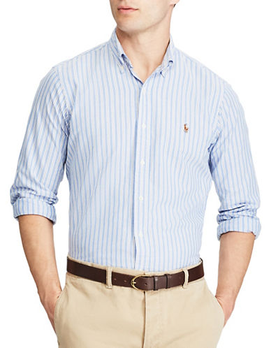 Polo Ralph Lauren Standard Fit Multi-Striped Oxford Shirt-BLUE-Large