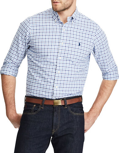 Polo Ralph Lauren Standard Fit Checked Oxford Shirt-BLUE-Small