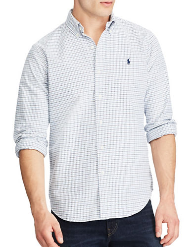 Polo Ralph Lauren Standard Fit Tattersall Oxford Shirt-WHITE-Large