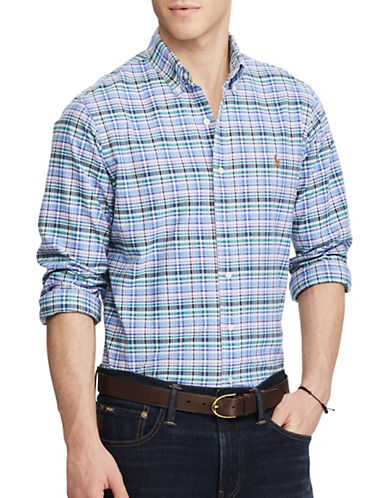 Polo Ralph Lauren Standard Fit Plaid Oxford Shirt-BLUE-Large