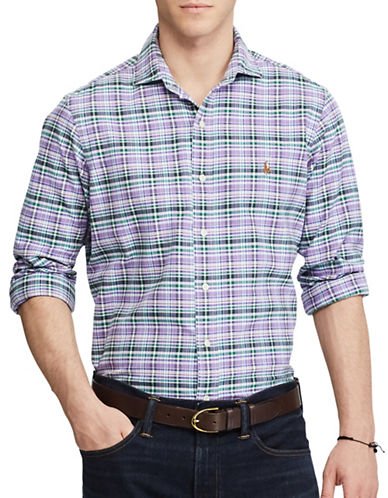 Polo Ralph Lauren Standard Fit Spread Collar Plaid Oxford Shirt-PURPLE-Medium