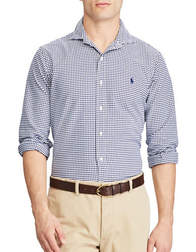 Polo Ralph Lauren Standard Fit Gingham Oxford Shirt-NAVY-Medium