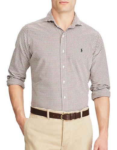 Polo Ralph Lauren Standard Fit Gingham Oxford Shirt-BROWN-Small