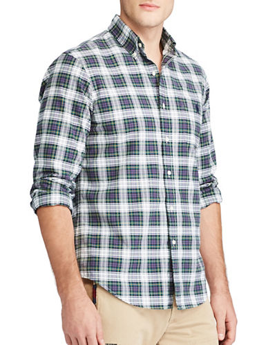Polo Ralph Lauren The Iconic Plaid Oxford Cotton Casual Button-Down Shirt-GREEN-Large