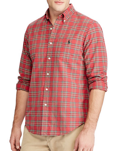 Polo Ralph Lauren The Iconic Plaid Oxford Cotton Casual Button-Down Shirt-RED-Large