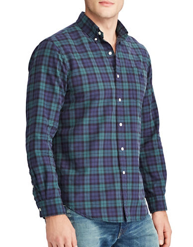 Polo Ralph Lauren The Iconic Plaid Oxford Cotton Casual Button-Down Shirt-GREEN-X-Large