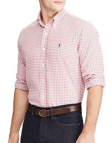 Polo Ralph Lauren Standard-Fit Cotton Casual Button-Down Shirt-RED-Small