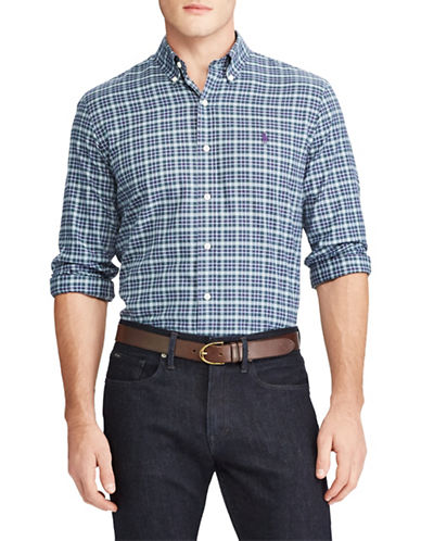 Polo Ralph Lauren Plaid Cotton Sport Shirt-BLUE-Small